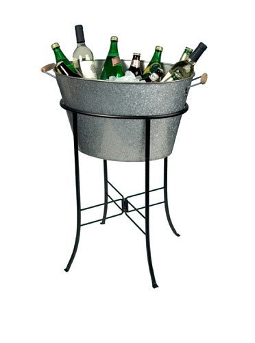 OASIS OVAL PARTY TUB W/STAND, GALVANIZED