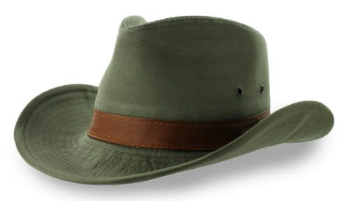 Dorfman Pacific Men's 1 Piece Garment Washed Twill Outback Hat With Genuine Leather Trim (Olive / Large)