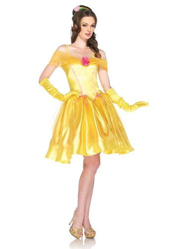 2PC.Princess Belle, off the shoulder satin dress and headpiece MEDIUM YELLOW