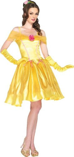 2PC.Princess Belle, off the shoulder satin dress and headpiece SMALL YELLOW
