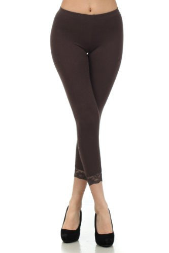 Imagenation / Fina Fina, Capri leggings with lace trim, Brown, Large