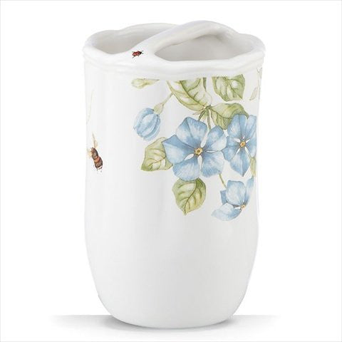 BLUE FLORAL GARDEN TOOTHBRUSH HOLDER