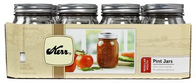 1 Pint (16 oz) Regular Mouth Jars, Set of 12