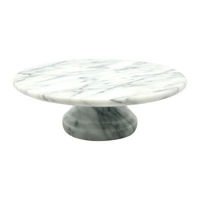 "WHITE MARBLE - 10"" x 10"" Cake Plate on Pedestal"