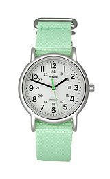 Women's Weekender Seafoam Green Nylon Slip Thru Band Watch
