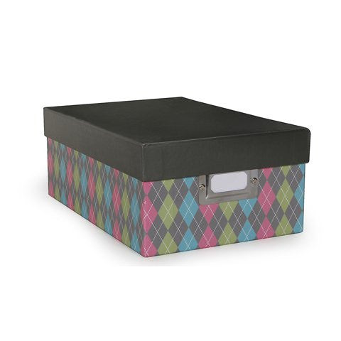 Darice Photo Storage Box - Argyle Light Print - 7.5 x 4 x 11 inches