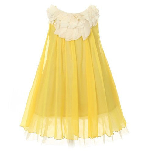 Lovely Chiffon Dress Accented with Floral Lace on Bodice - Yellow, Size 6