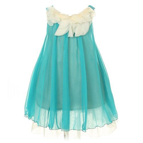 Lovely Chiffon Dress Accented with Floral Lace on Bodice - Turquoise, Size 4