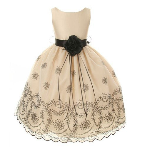 Beautiful Organza Dress with Floral Pattern Embroidered on Skirt - Champagne, Size 6