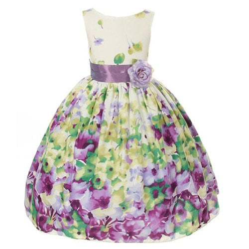 Flower Printed Cotton Dress with a Color Sash - Lavender, Size 10