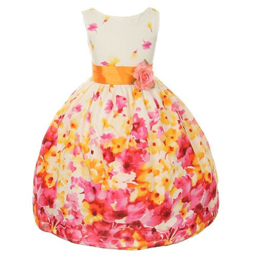Flower Printed Cotton Dress with a Color Sash - Fuchsia, Size 6