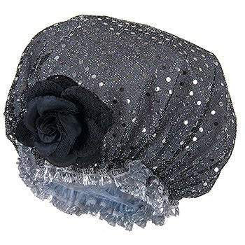 Shower Cap - Black Sparkle Design