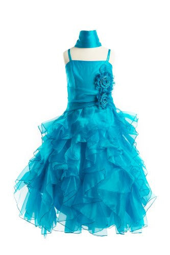 Organza Multi Layer Ruffles Long Dress - Turquoise, 4
