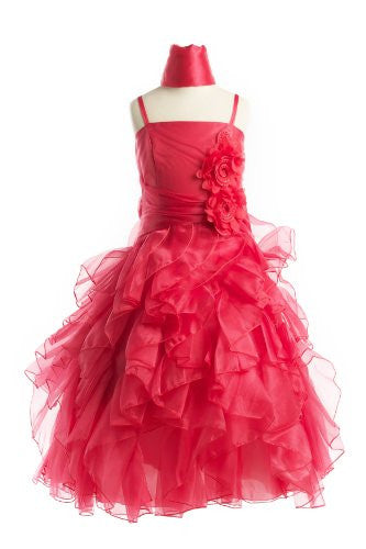 Organza Multi Layer Ruffles Long Dress - Coral, 12