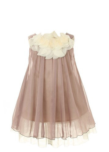 Lovely Chiffon Dress Accented with Floral Lace on Bodice - Mocha, Size 2