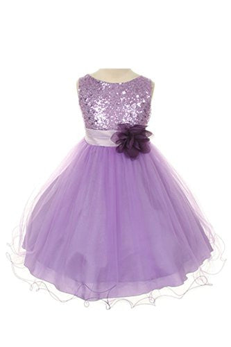 Stunning Sequined Bodice with Double Layered Mesh - Lavender, Size 6