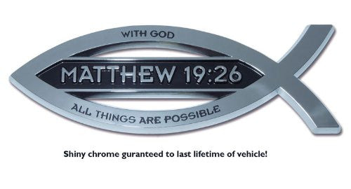 Christian Fish Chrome Auto Emblem (Matthew 19:26 w/ Scripture)