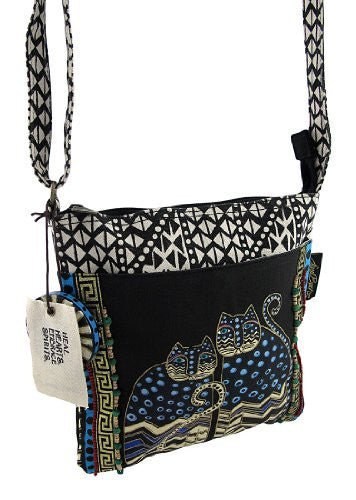 "Laurel Burch Crossbody Tote W/Zipper Top 10""X10"" W/25"" Strap Spotted Cats"