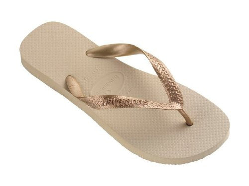 Women's Top Metallic Flip Flop, Sand Grey/Light Golden Size 39-40