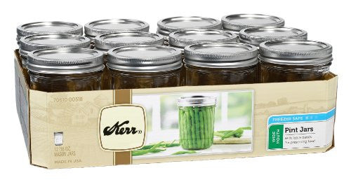 1 Pint (16 oz) Wide Mouth Jars, Set of 12