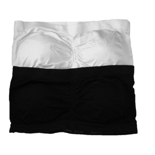 Anenome Women's Strapless Seamless Bandeau Padding (2 or 4 pack),One Size,2 Pk: Black/White