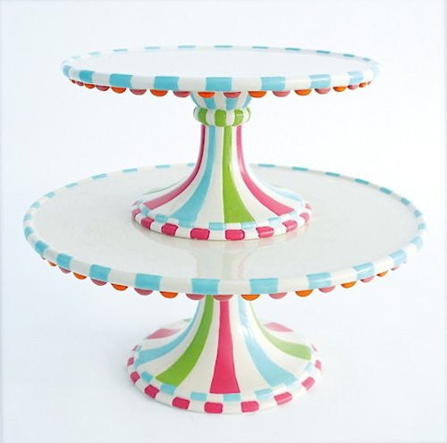 "GVE CupcakeTown 2 Tier Scalloped Cake Plate, St/2, Ceramic, 8.5"", 11.25"""