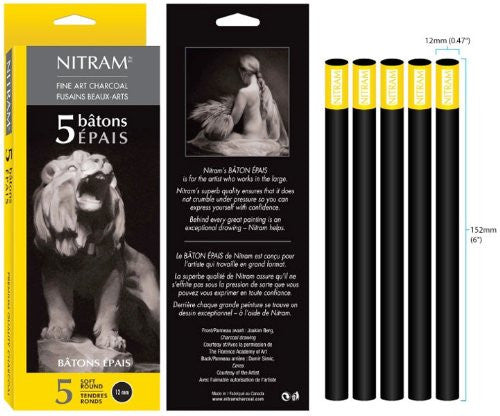 Nitram Large Format Extra-Soft Charcoal MAXI BATN 50MM