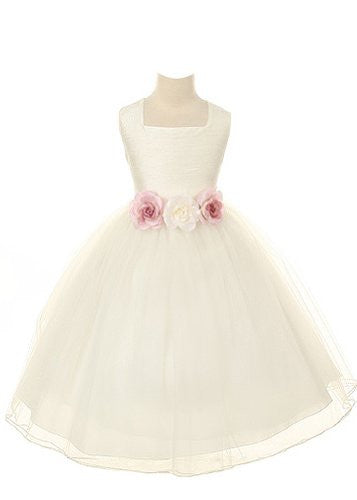 Dupioni Bodice with Tulle Skirt - White, Size 8