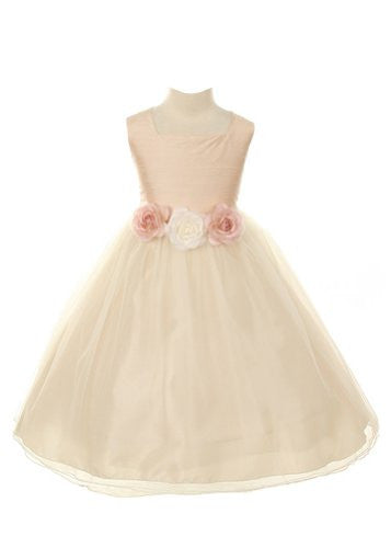 Dupioni Bodice with Tulle Skirt - Dusty Rose, Size 4