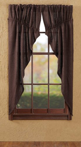 Burlap Chocolate Prairie Curtain Set of 2 63x36x18""