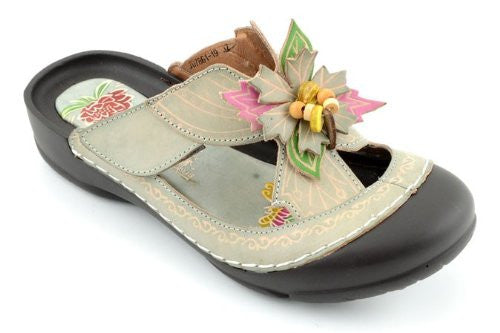 Fern Bumped Toe w/ Flower Sandals - Grey (Size 6)