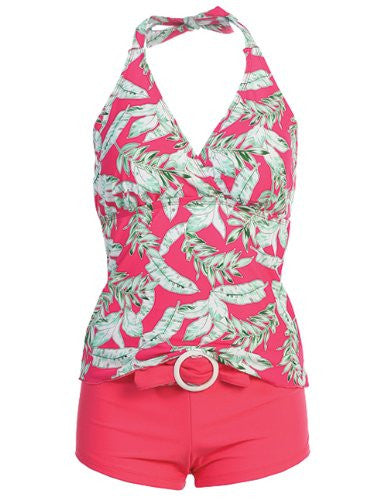 Marina West Women's Halter Tankini & Shorts Swimsuit Set (2 Piece) (Leaf Pink / Small)