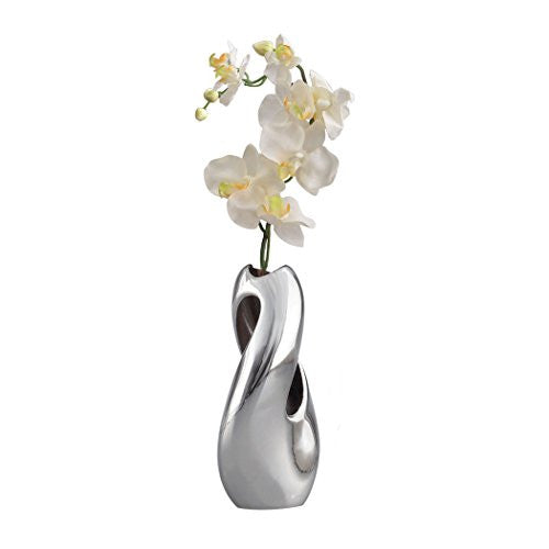 Nambe Pebble Twist Bud Vase with Orchid