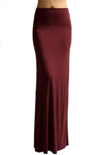 Azules Women's Rayon Span Maxi Skirt (Burgundy / Medium)