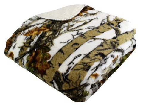 """The Woods"" White Licensed Sherpa Mink Throw"