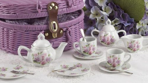 Large Pr'l Tea Set in Basket, Rose