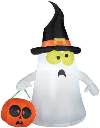 Airblown Outdoor Ghost w/ Witch Hat, 3.5 feet Tall