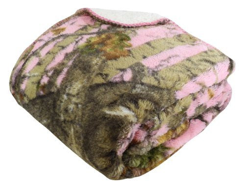 """The Woods"" Pink Licensed Sherpa Mink Throw"