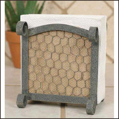 Chicken Wire with Burlap Napkin Caddy