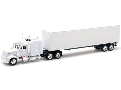 1/43 Kenworth W900 with White Cab and White Trailer (Blank)