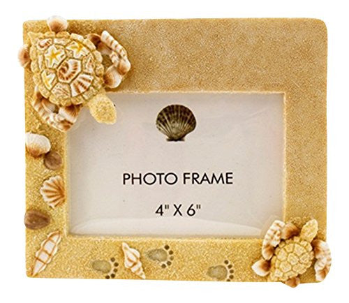 "Resin Sand/Shell Turtle Photo Frame, 4"" x 6"""