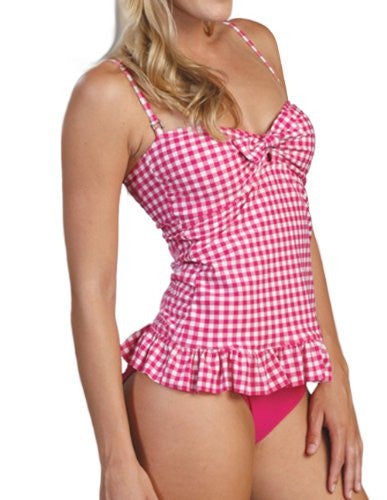 Marina West 2 Piece Bandeau Tankini Swimsuit Set (Gingham Pink / Small)