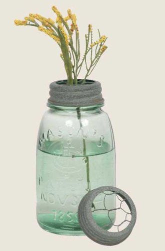 Midget Pint Mason Jar with Chicken Wire Flower Frog - Barn Roof