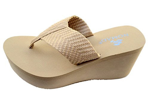 Nomad Footwear Women's Tide High Platform Thong,10 B(M) US,Natural