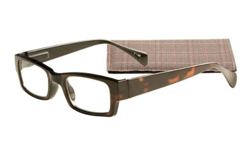 """Contemporary Rectangle"" Men's Readers (Tortoise)"