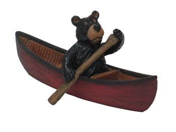 Willie Bear Paddling Canoe 4""
