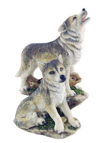 Wolf Pair On Rocks 7.5""