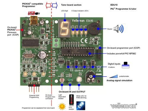 USB PIC Programmer and Tutor Board, 90 x 74 mm / 3.54 x 2.91""