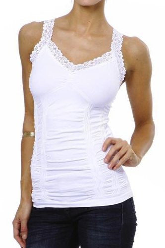 Corset Look Lace Cami Top, White - One Size