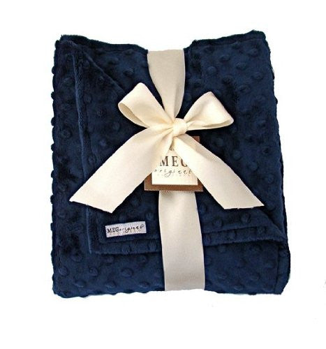 Navy Blue Minky Dot Blanket